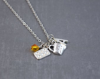 Baking Necklace - Bakers Necklace - Kitchen Jewelry - Personalized Necklace - Silver Initial Necklace - Food Necklace - Mixer Jewelry