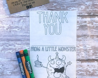 Cute Monster Birthday Thank You Cards / Color Me Thank You Cards / Printable / Instant Download / Monster Birthday