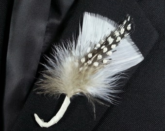 Feather and Pearl Boutonniere pearls on polka dot and white feathers