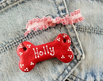 Personalized Dog Bone Ornament , Christmas Pet Ornament - Pet Gift Under 5 Dollars -With Curly Ribbon