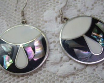 Vintage Abalone Shell Earrings...Inlaid Mother of Pearl...Alpaca...Mexico...Dangle Hook Earrings