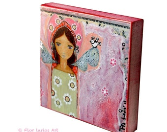 Angel with Bird -   Giclee print mounted on Wood (4 x 4 inches) Folk Art  by FLOR LARIOS