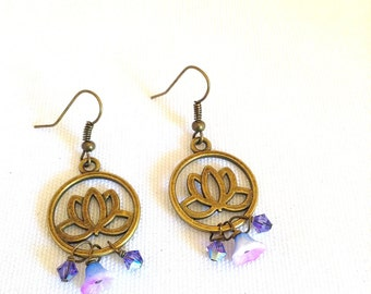 lotus flower earrings, yoga jewelry, bronze, niobium earrings, flower lotus jewelry