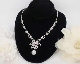 Anya - Vintage Style Cubic Zirconia and Freshwater Pearl  Necklace