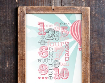 Vintage Hot Air Balloon Numbers Print for a Baby Girl's Nursery - Instant Download Wall Art - Print at Home