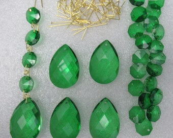"50 pc Crystal Prisms Emerald Green 1.5"" Teardrop & 14mm 2 hole Octagon Windchimes Suncatcher Jewel Chandelier Ornament Craft Supply Kit"