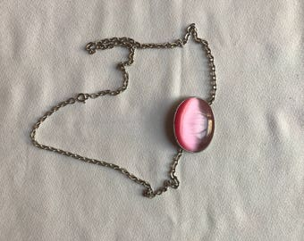 Fun Pretty Pink Moonstone Cabochon Pendant on a silvertone chain