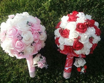 Round brooch bouquet White wedding bouquet Red and white roses bouquet