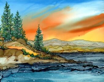 Alcohol Ink Print - 5x7, 8x10, 11x14  Mountain Lake Landscape-