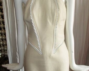 1990 Gianni Versace Micro Mini Dress Ric Rac Leather Scales
