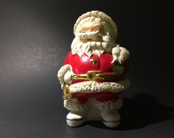 Vintage Ceramic Spaghetti Santa Bank Christmas Decor Statue Holiday
