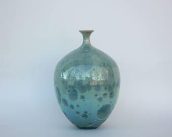 Aqua Crystalline Bottle Vase