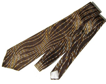 Vintage 70s Tie Countess Mara Men's Brown Wide Necktie