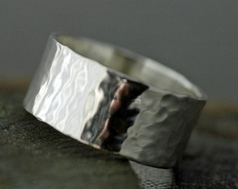 3/8 Inch Hammered Sterling Silver Band- High Shine Soft Hammered Finish- Custom Made Wedding Ring