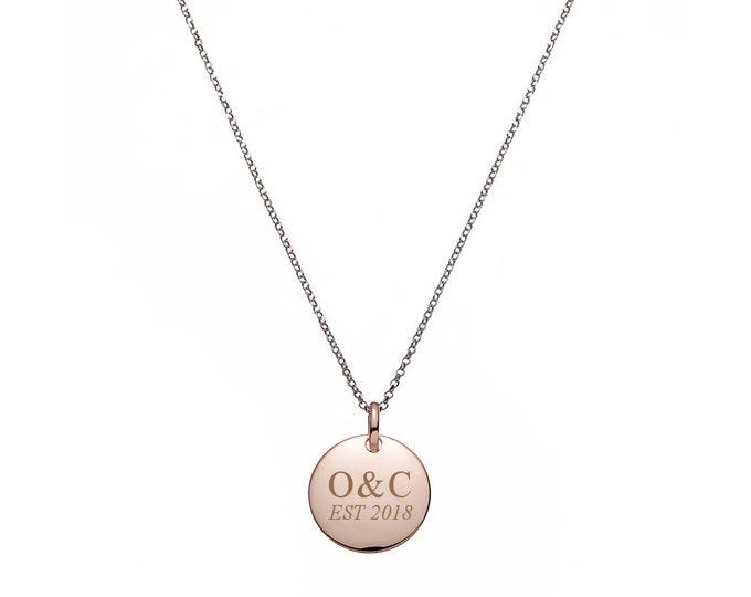 "Personalised Engraved 1.4cm Rose Gold Disc On 17"" Sterling Silver Belcher Necklace"