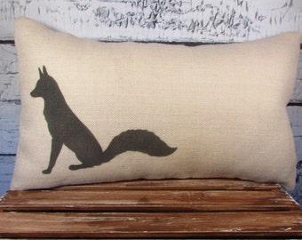 Burlap fox pillow - burlap -  name can be added