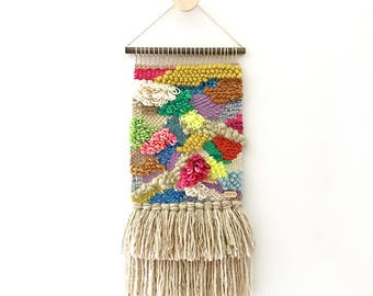 SALE - Handcrafted Weaving 24 - Woven Wall Hanging -  MEDIUM SIZE (Pink, Green, Lavender, Natural, Rust, Gold, Blue, Neon Yellow)