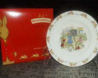 Vintage (mid 1990s) Royal Doulton Bunnykins Math Lesson pattern bread-and-butter | side plate with box. Bunnykins in math class!