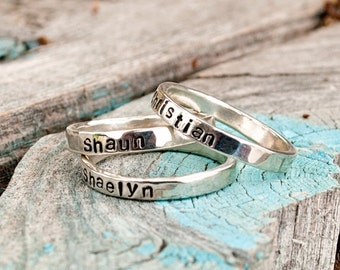 Silver Stacking Name Rings.  3 Stack.  Three Name Stackable Rings Short Stack.