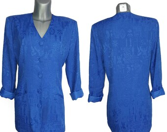 Vintage Royal Blue Ledies Jacket Long Blazer