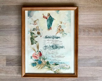 1924 Swedish Marriage Certificate, License, Rockford IL, Jesus, Angels, Flowers, Bible Verse, Antique, Vintage