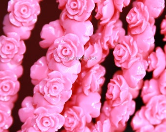 10 pcs of  Acrylic flower bead 10mm- Fuchsia color