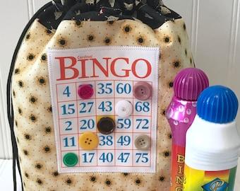 Bingo Bag, Drawstring Tote Bag, Knitting Project Bag, Grandmother Gift, Bingo Gift, Bingo Dauber Bag, Unique Makeup Bag, Yellow, Bingo Purse