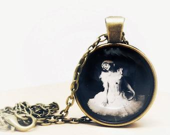 Antique Bronze Charm Necklace 20 inch Chain Gothic Fairies