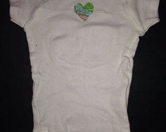 Preppy Baby Bodysuit, Preppy Heart Decal Bodysuit for Baby, Baby Bodysuit, Cotton Baby Bodysuit, Heart Decal Baby Bodysuit, Preppy Inspired