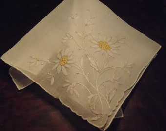 Vintage Handkerchief Sheer White Yellow Flower Embroidery unused approx 35 cm (13 3/4 inches) wedding engagement prom
