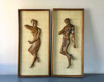 vintage carved wood man woman framed wall art mcm retro boho decor