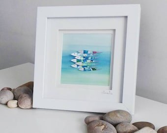 Beautiful Original Fish Painting - Abstract 3D Art - in white frame measuring 18x18cm/7x7inches