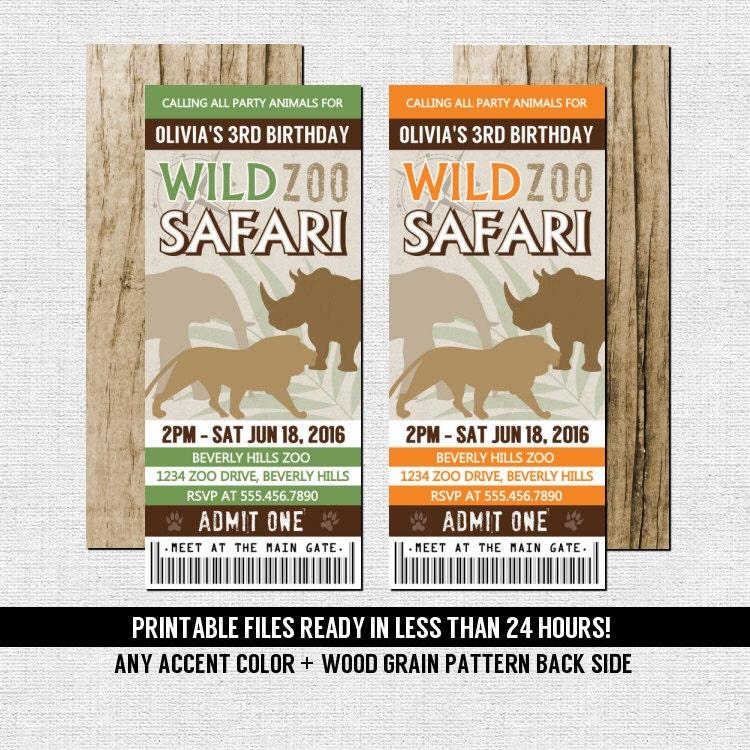ZOO TICKET INVITATIONS Birthday Safari Party Any Accent