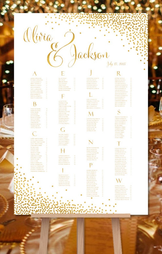 Wedding seating chart poster confetti gold