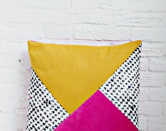 Mixed fabrics Colorblock Pillow Cover in Golden Mustard, white and hot pink, Modern Home Decor, Three Tone Color Block Velvet Cushion Cover