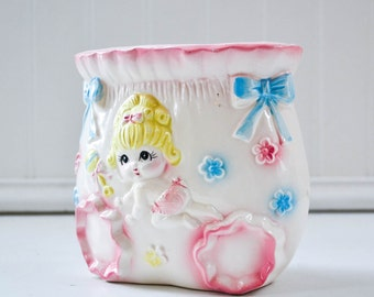 Vintage Nursey Planter - Baby Girl Diaper Pink Pastel Decor