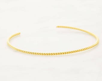 Thin Gold Cuff Bracelet - Twist Open Bangle Bracelet - Twisted Line Bracelet - Adjustable Gold Rope Cuff - Layering Jewelry
