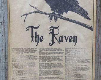 The Raven by Edgar Allan Poe, poster, halloween decor, 11x17