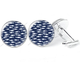 Pattern c32 - glass cabochon cufflinks