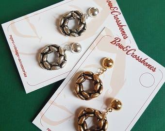 Vintage beaded hoop stud earrings