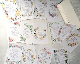 Bible verse scripture cards, floral memory cards verse set, Bible postcard set, Christian encouragement cards, scripture memory tools,