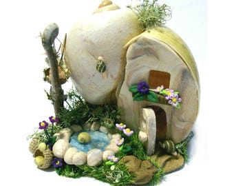 Apple Snail Faerie Home Escargot Manor Natural Sculpture One-of-a-Kind Whimsy House Fantasy Scene Real Apple Snail Micro Shells Deer Moss