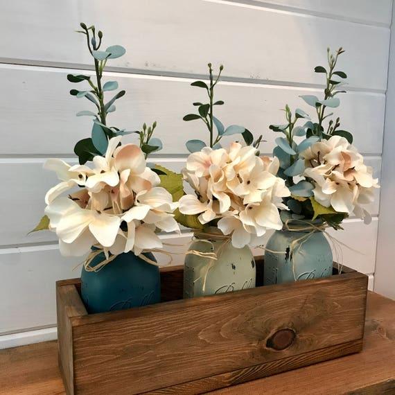 Kitchen Table Centerpiece, Kitchen Table Decor, Centerpiece Arrangement, Mason Jar flower Arrangement, Kitchen Table Decorations, Flower