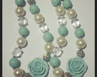 Mint rose chunky necklace
