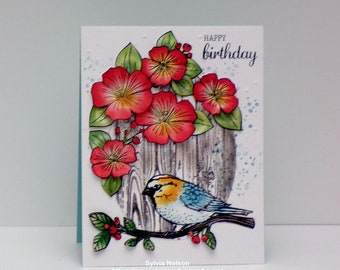 Happy Birthday Floral Card...Water color Art card...Flowers and Bird card...Beautiful colors...wood grain background...Stampin'Up stamps
