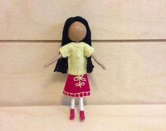 Blossom - Waldorf doll - Dollhouse doll - Miniature doll - Bendy doll - Faceless doll - Pocket doll - Montessori toy