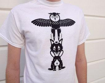Totem Pole Men's Tshirt, funny animal tshirt, owl tshirt, fox tshirt, graphic tee, white mens tshirt, screenprinted tshirt, funny tshirt
