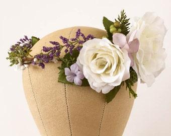 White flower crown with lavender. Boho Flower Crown, Flower Headpiece, Lavender Crown, Wedding Headpiece, Bridal hair wreath, Boho weddings.