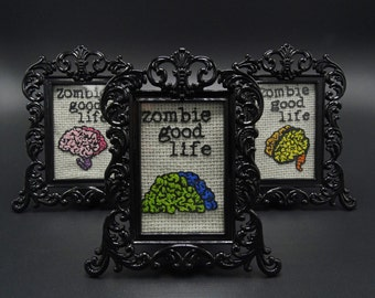 Framed Mini-Brains Embroidery Zombie Gift (sold separately)