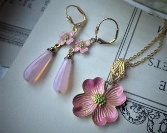 Pink Earrings ~ Dogwood Earrings ~ Art Nouveau ~ SET ~ Bobby Pin ~ Pink Flower Earrings ~ Blush Pink ~ by LadyofTheLakeJewels